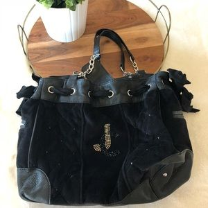 Juicy Couture Black Velvet Cinched Purse Studded